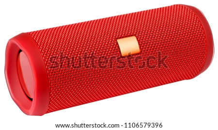 Red wireless speaker isolated on white background. #1106579396