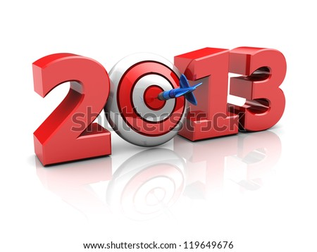 Red 2013 with darts, new year successful concept