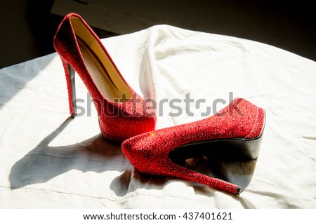 Red woman shoes #437401621