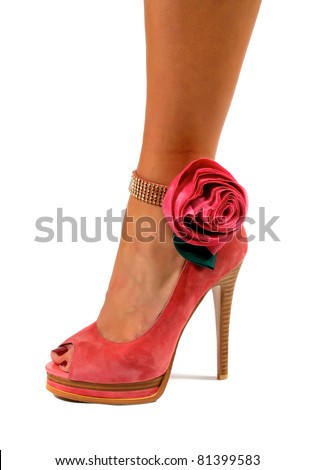 Red women shoes isolated on white background