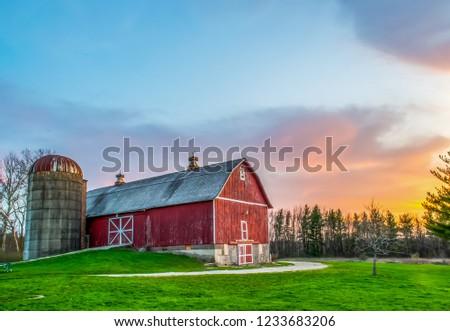 Red Wood Barn Farm Sunset Сток-фото ©
