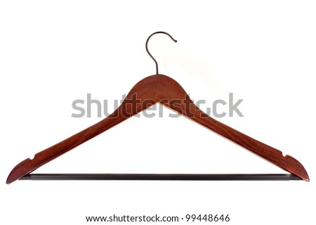 Red wood coat hanger isolated