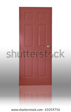 Red wood door with shadow