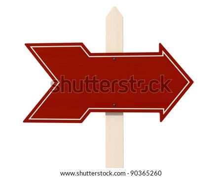 red wooden arrow isolated on white background - rendering