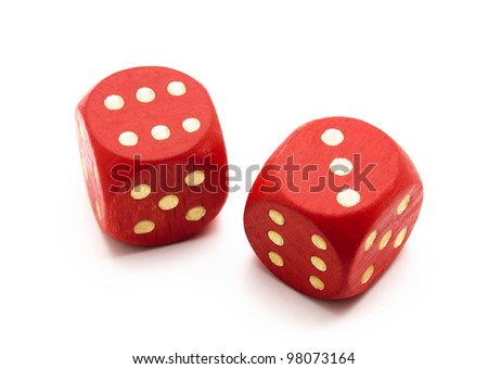 Red wooden dice isolated on white background #98073164