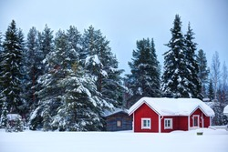 Red wooden Finnish house in winter forest covered with snow