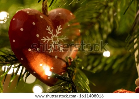 Red Wooden Heart Shaped Christmas Tree Decoration