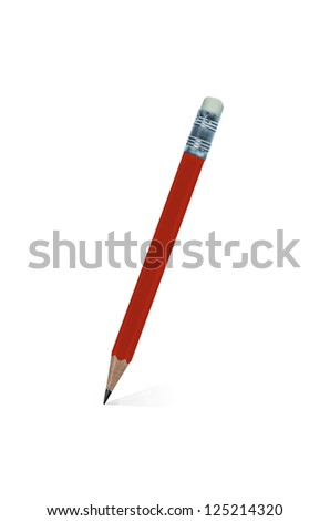 Red wooden pencil isolated on a white background