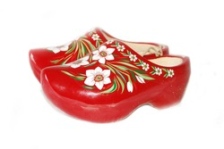 red wooden shoes