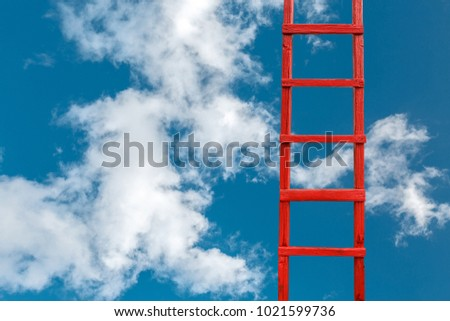 Red Wooden Stairway to Heaven On Right. Road To Success. Achievement Of Goals Career Concept