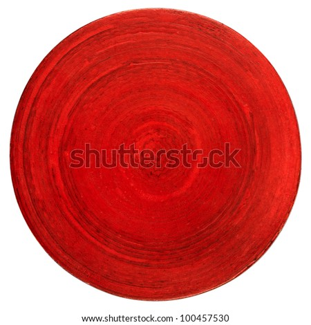 Red wooden table coaster isolated on white