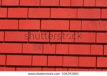 Red Wooden tiles wall for background - stock photo