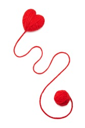 Red wool hearts on white background