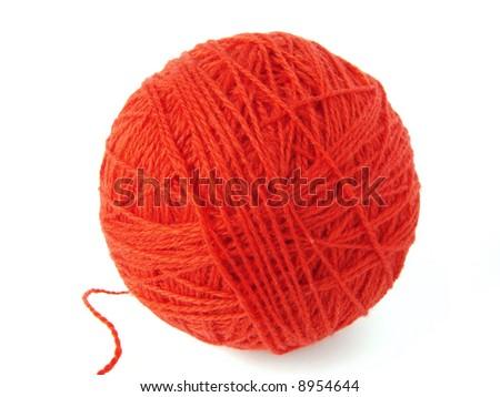 red wool yarn skein