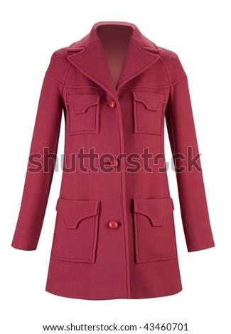 red woolen coat - stock photo