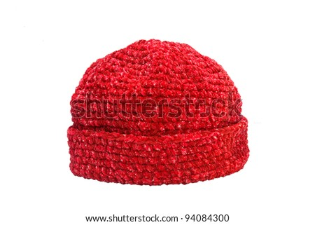 red woolen knit hat isolated on white background