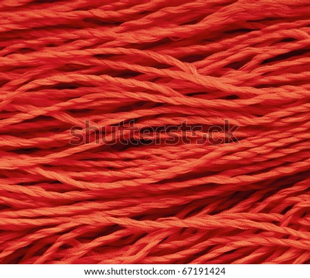 Red  woolen thread closeup