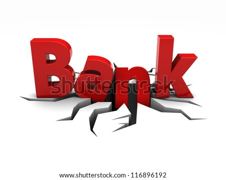 Red word bank over crack