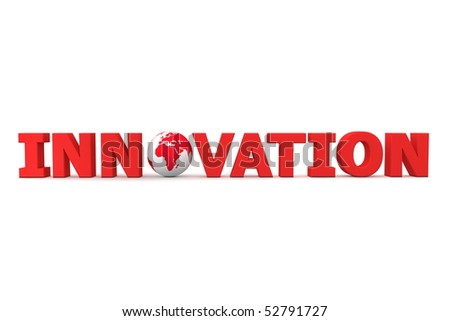 red word Innovation with 3D globe replacing letter O - stock photo