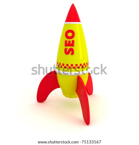 Red word SEO written on the yellow rocket