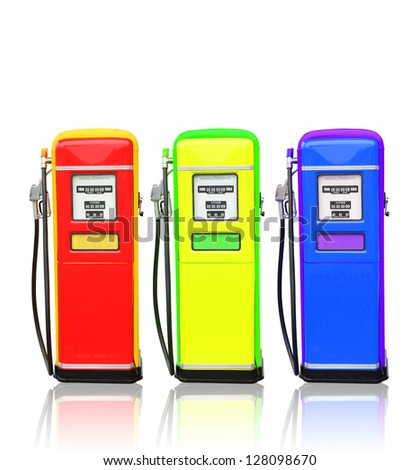 Red yellow and blue gasoline fuel pump with clipping path