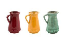 Red, Yellow and green jug isolated on white