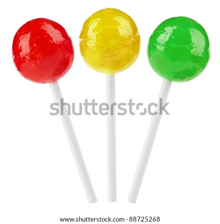 Red, yellow and green lollipop isolated on white background. With Clipping Path