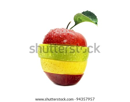 Red, yellow and green sliced apple with moisture