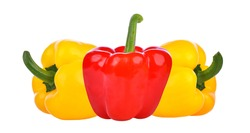 Red yellow bell peppers isolated on white background.