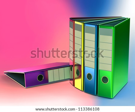 red, yellow, blue, green and magenta folders stores important documents on abstract background