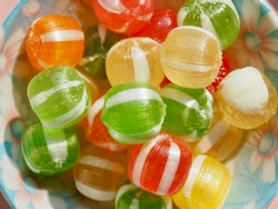 Red, yellow, green circle shaped candy