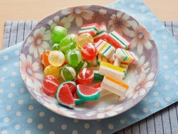 Red, yellow, green circle shaped candy and Fruit jelly