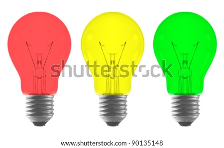 Red yellow green color light bulb as traffic light isolated on white background