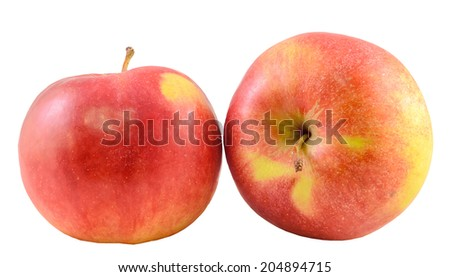 Red-yellow Jonathan apple, isolated, white background, cutout #204894715