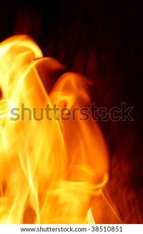 Red yellow orange flame on black background