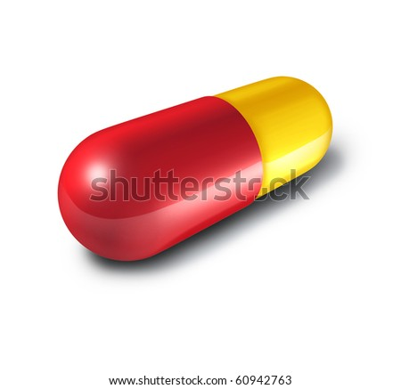 red yellow pill capsule isolated
