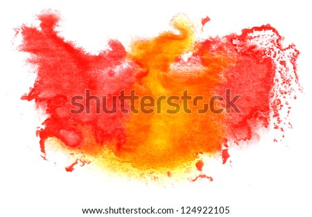 red yellow red watercolor isolated on white for your design