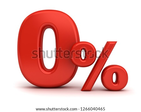 Red zero percent or 0 % isolated over white background with shadow 3D rendering