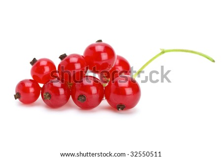 Redcurrants cluster isolated on the white background