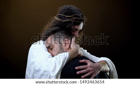 Redeemer hugging unhappy man, faith in God, spiritual protection, eternity #1492463654