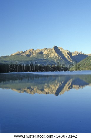Redfish Lake and Sawtooth Mountains at Sunrise, Idaho