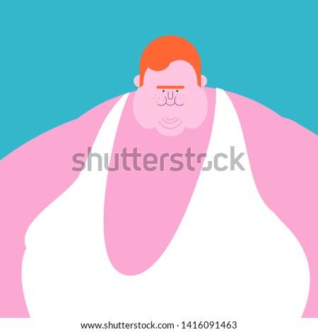 redhead Fat guy. Glutton Thick man. fatso
