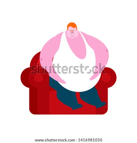 redhead Fat guy is sitting on chair. Glutton Thick man. fatso