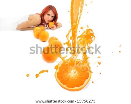 redhead girl with orange juice
