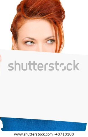 redhead woman with blank board over white