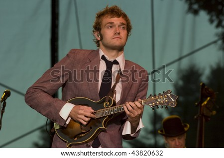 REDMOND, WA - AUG 11: Singer and mandolin player Chris Thile of Nickel Creek performs on stage at Marymoor Amphitheater August 11, 2006 in Redmond, Wa.