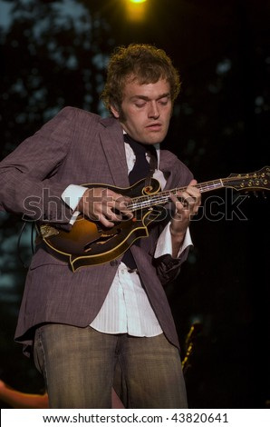 REDMOND, WA - AUG 11: Singer and mandoln player Chris Thile of Nickel Creek performs on stage at Marymoor Amphitheater August 11, 2006 in Redmond, Wa.