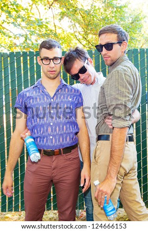 REDMOND, WA - AUGUST 25, 2012:  Nate Ruess, Jack Antonoff and Andrew Doff of Indie Rock Band FUN pose for a portrait backstage at Summer End Camp in Redmond, WA on August 25, 2012.