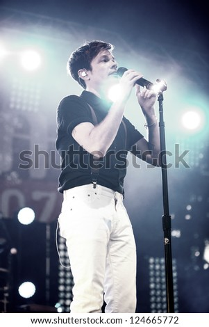 REDMOND, WA  - AUGUST 25, 2012:  Singer Nate Ruess of Indie rock band FUN performs on stage for the End Summer Camp at Marymoor Amphitheater in Redmond, WA on August 25,2012.