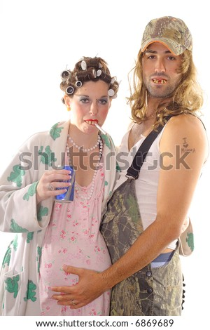 Redneck Hillbilly Couple - stock photo